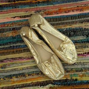 Mad Love Gold Glitter Flats NEW Size 10